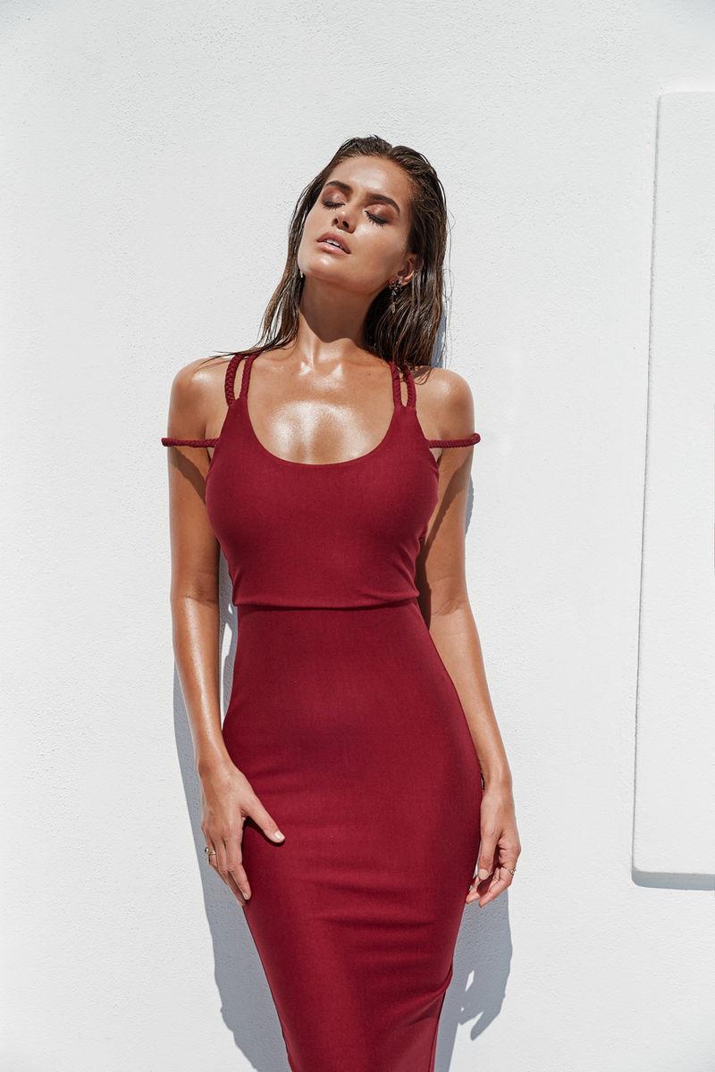 maxi šaty sexy klubové šaty strana elegantní šaty červené bodycon z ramene gatsby pletená bavlna 2018 z ramene může ranvej léto