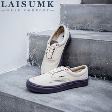 LAISUMK New Fashion Men Lace Up Canvas Shoes Breathable Cloth Flats MenS Casual Solid Color For Male
