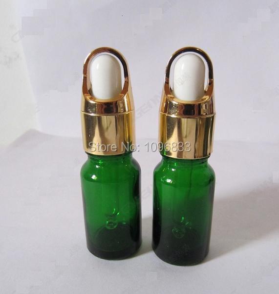 10 ML Bottiglia di Olio Essenziale Verde Gomma Contagocce Fiala Fiale di Vetro Contagocce Pipetta di Gomma Bottiglia Imballaggio Cosmetico Fiala, 40 pz/lotto