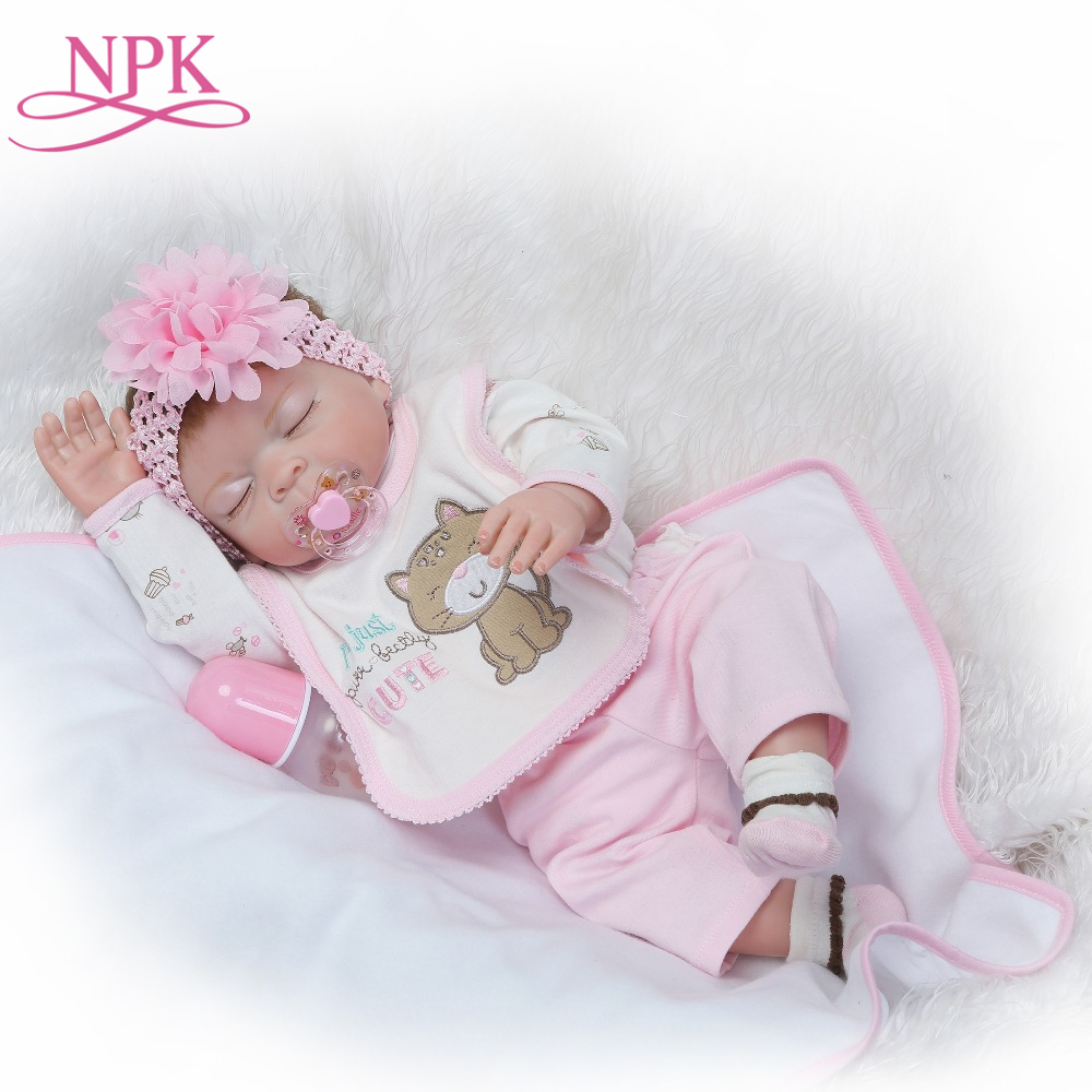 NPK 50cm realistic reborn baby doll full vinyl girl doll lovely sleeping doll gift for Children