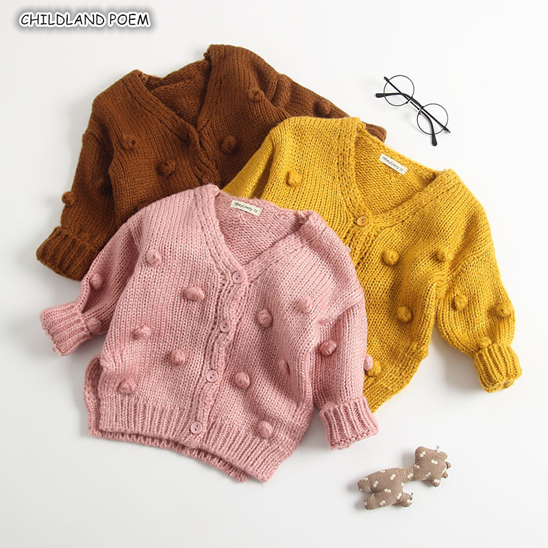 Toddler Baby Girls Winter Coat Pompom Button Knit Sweater Cardigan Kids Long Sleeve Warm Jacket Outerwear