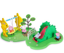 Genuine Peppa Pig... das Peppa Teddy bear Geroge Dinossauro Playground slide swing set Suzy Edmond Toy Kids Natal aniversário PRESENTE(China)
