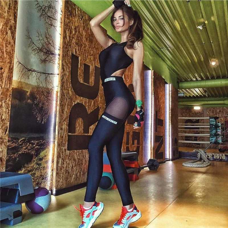 Letter Printed Jumpsuits Sport Suit Women Mesh Patchwork Tracksuit Yoga Set Fitness Gym Running Pants Sportswear Leggings Tight image