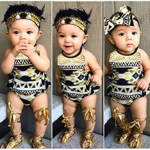 2016 summer baby girl one-pieces jumpsuits Sleeveless Printed romper+ Headband infant girl clothes bebes
