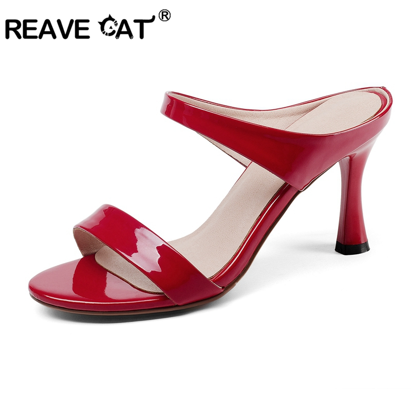 REAVE CAT Shoes woman High heel Sandals peep toe slingbacks Patent leather Mules Party shoes Black