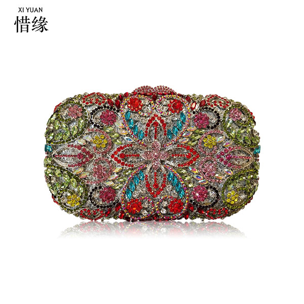 XIYUAN BRAND Women gold silver Purse Flower multicolor Evening Bags Wedding Clutch Luxury Crystal Clutches Diamond Party Bag xiyuan brand gold party purse bags women luxury silver crystal evening bags female pochette diamond ladies wedding clutch bags