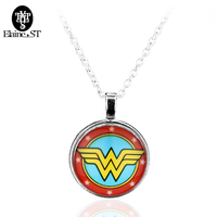 Free shipping New design Wonder woman charm Necklace Metal Enamel LOGO Pendant Necklace for women Jewelry