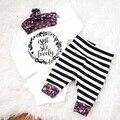Floral menina crianças roupas de bebê menino macacão + bandana + calças 3 pcs bebê recém-nascido conjunto de roupas menino, roupas bebes de menina TZ-361