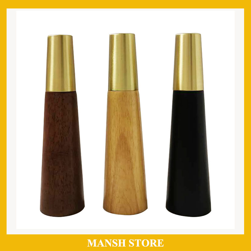 4pcs/lot Wood Legs TV Cabinet Support Sofa Legs Furniture Accessory Brass Gold Cups Solid Wooden Feet