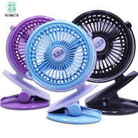 SIANCS USB Mini Portable Rechargeable Fan Clip Fan With Lithium 18650 Battery 3 Grear 360 Degree
