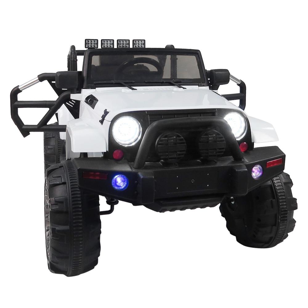 Voiture électrique blanche à quatre roues motrices pour enfants voiture RC 3-8y jouet tout-terrain avec lumière LED pneumatique