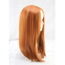 Orange straight hair style heat resistant synthetic wigs