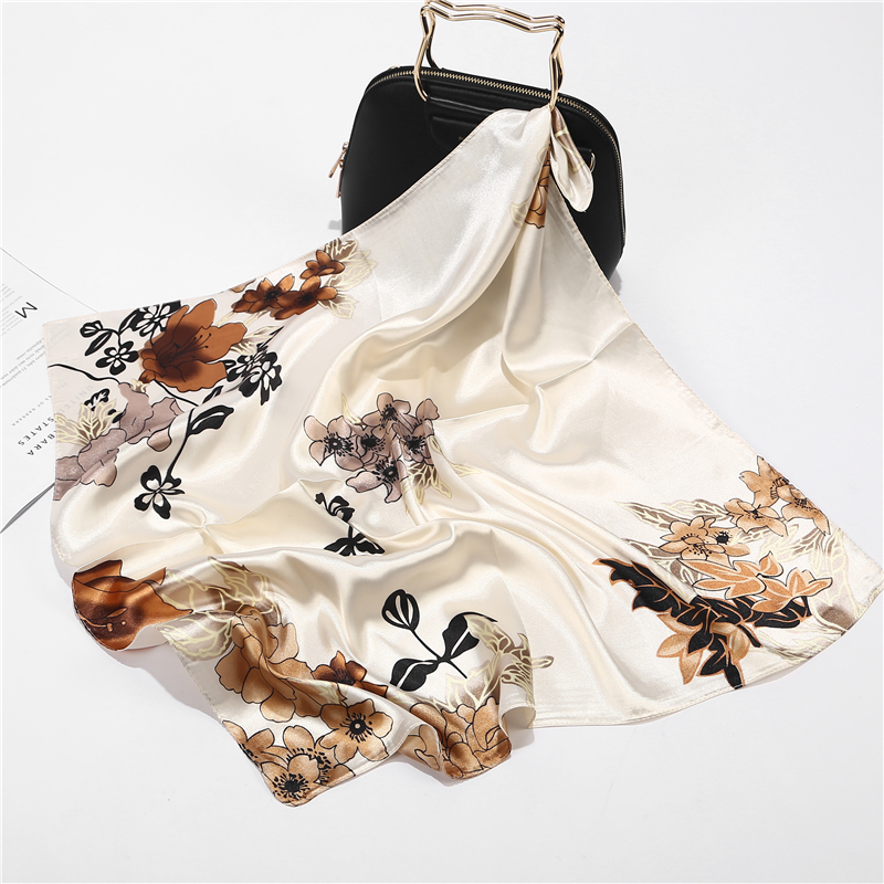 New Summer Luxury Brand Flower Silk Square   Scarf   Women Shawls   Wraps   Fashion Print Office Small Hair Neck hijabs foulard