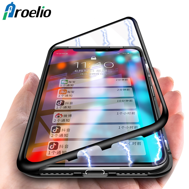 c949fdb884d Proelio 360 Magnetic Adsorption Case for iPhone X 8 Plus 7 6 6S + Tempered  Glass Back Cover for iPhone 7 8 6 6S Plus X Hard Case