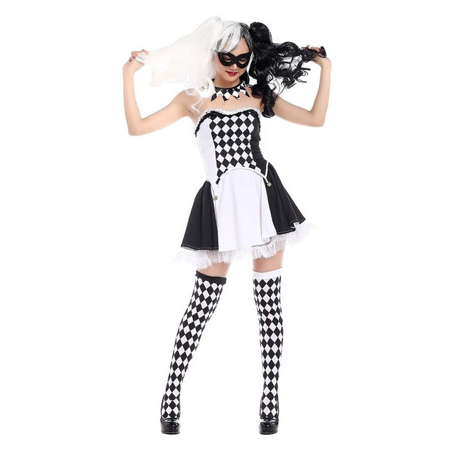 Killer Clown Halloween Costumes For Girls.Black And White Clown Costume Sc 1 St Imagesnation Com
