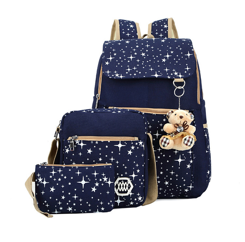 6 Colors Backpacks Brand 3 Pieces Sets Women Backpack Star Printing Canvas School Bags For Teenager Girls Shoulder Bag
