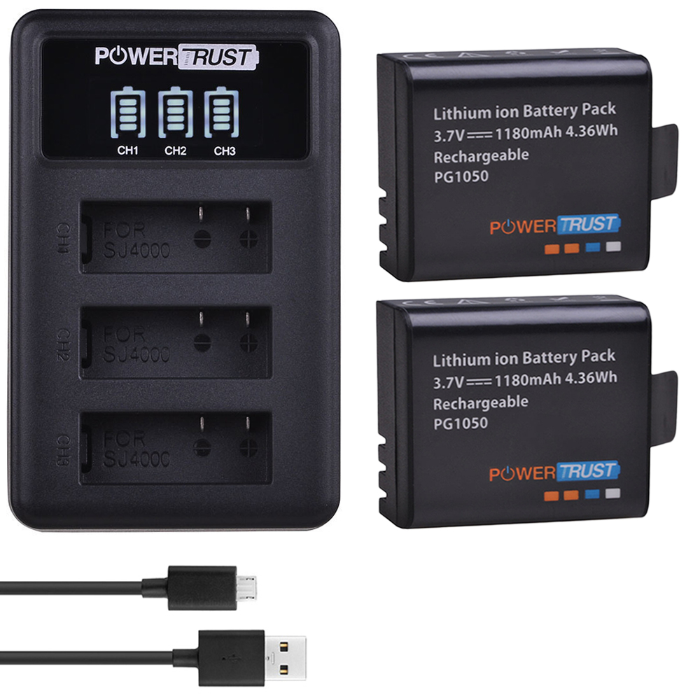 PowerTrust 2x PG1050 <font><b>Battery</b></font> + LED 3Slots USB Charger For SJCAM SJ4000 M10 SJ5000 SJ5000X For EKEN H9 H9R H8R H8 GIT <font><b>PG900</b></font> image