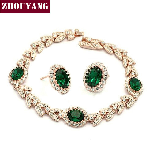 ZHOUYANG ZYS068 Noble Green Crystal Gold Plated Jewelry Bracelet Earring Set Rhinestone Made with Austrian Crystal