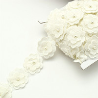14yards Beaded Pearl cream white Flower Lace Ribbon Applique Motif Trim Venise Sewing on craft
