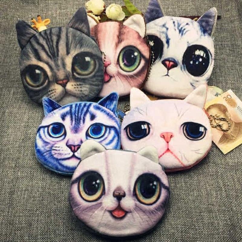 Newest Children Mini Cute Cat Face Zipper Case Coin Kids Purse Wallet Makeup Card Bag Pouch Party Supplies vsen hot noctilucent cat zipper coin case purse wallet pouch handbag bag