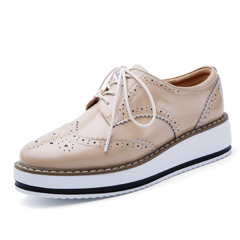 J f Women Platform Oxfords Brogue Flats Shoes Patent Leather Lace Up Pointed Toe Brand Female Footwear Shoes for Women Creepers qmn women brushed leather platform brogue shoes women round toe lace up oxfords flat casual shoes woman genuine leather flats