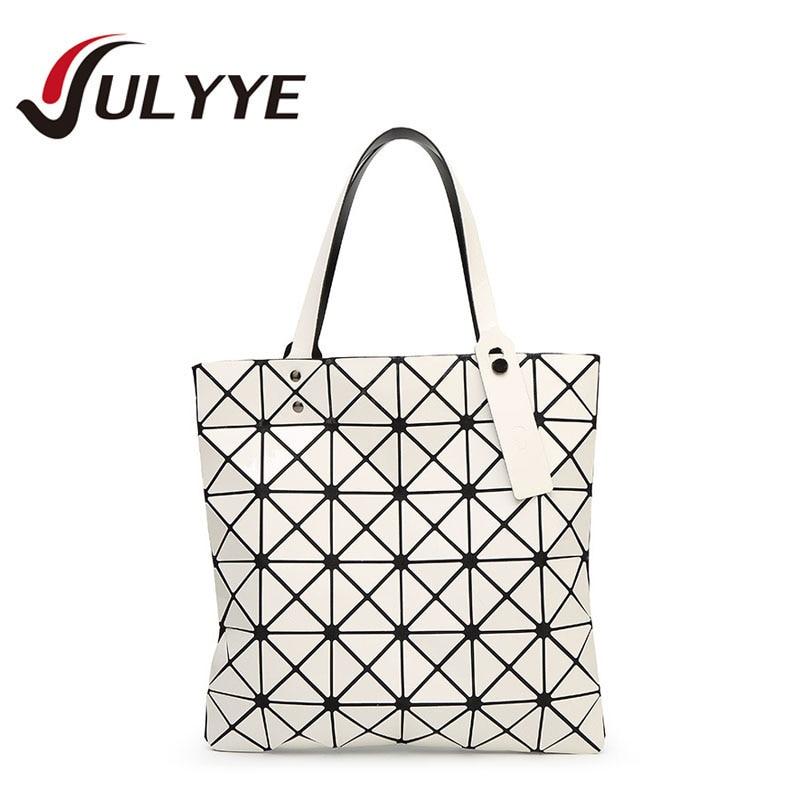 YULYYE 2018 New Brand Designer Women Fashion Bag Geometry Sequins Laser Plain Handbag Folding Tote Women Messenger Shoulder Bags