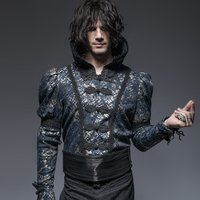 2018 New Men's Punk Style Casual Print Girdle Gothic Girdle Wasit Covering Button Party Shirt Accessories