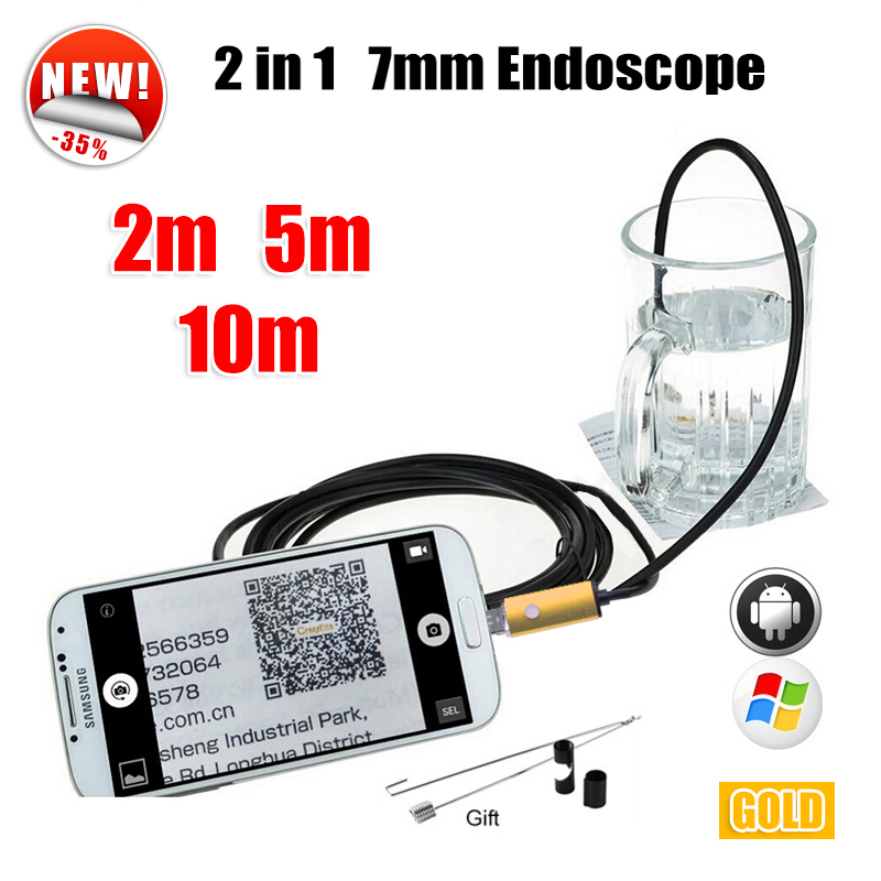 Antscope Golden 7MM OTG USB Android Camera Snake Endoscopic Android Phone Camera 2m 5m 10m Car Inspection USB Endoscope Camera headset bullet usb otg compatible android smartphones digital camera
