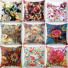 Hot sale  super beautiful red flowers floral pattern women men Pillow case boys girls weeping pillow cover size 45*45cm