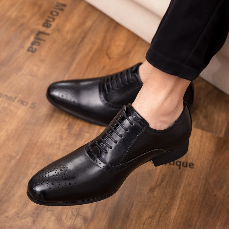 Dress Shoes Outdoor Wedding Party Mens Business Shoes Cow Leather Oxfords Lace Up Leather Brogue Social Boys Prom Shoes Men L4