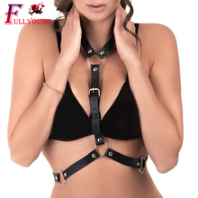 Fullyoung Leather Harness Sexy Body Belts Ladies Women Suspenders Straps Cage Lingerie