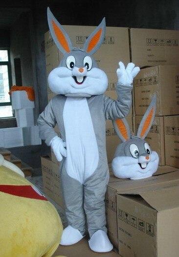 Vysoká kvalita Velikost dospělých Cartoon bugs Bunny Rabbit Mascot Kostýmní maskot Cosplay Halloween kostým Vánoční Crazy Prodej