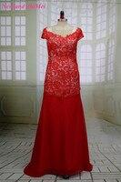 Hot Red Raja Del Lado Vestido Formal Elegante Vestido de Noche de la Mujer Cap Manga Encaje Gasa Piso-Longitud vestido de Fiesta Vestido de Buen Diseño
