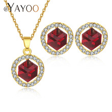 AYAYOO Bridal Jewelry Sets Indian African Beads Jewelry Set Gold Color Fashion Jewelery Sets For Women Wedding Costume Jewellery(China)