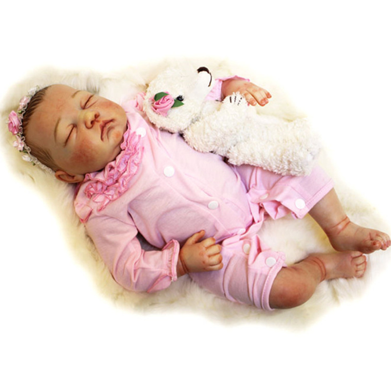 silicone reborn baby doll alive newborn babies sleeping accompany dolls reborn Children toy Christmas birthday gift