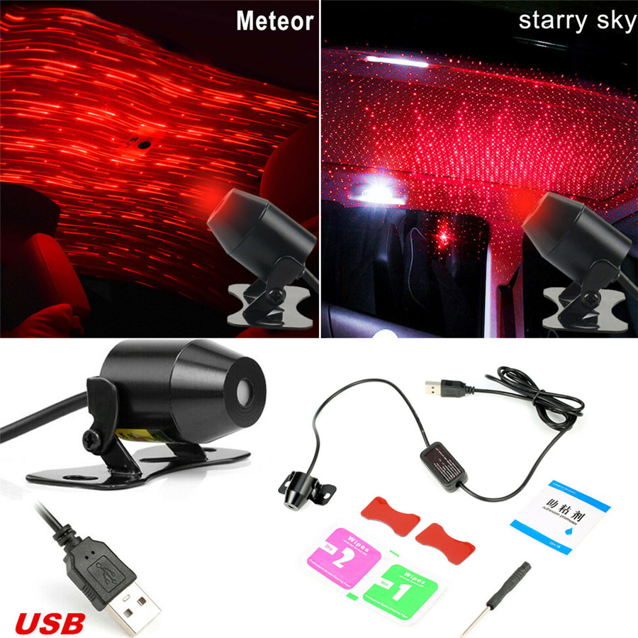 Novelty Lighting Car Interior Ceiling Red LED Atmosphere Projector USB Galaxy Meteor Star Light