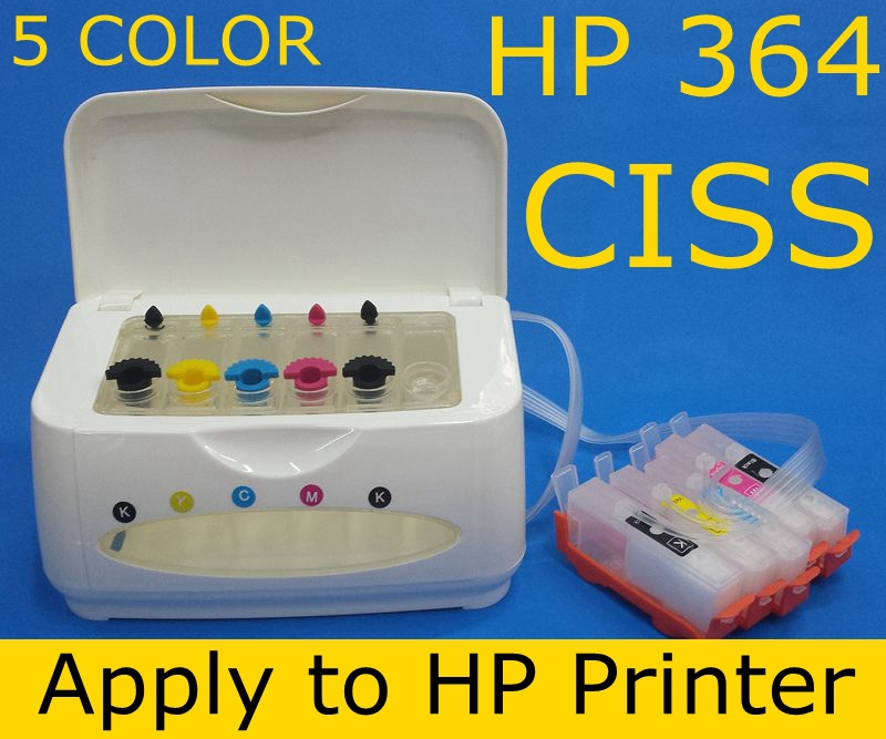 ФОТО hp364 XL ink cartridge 5 color CISS ink tank apply to printer B109 B110 B209 B8550 C309 C5300 C5380 C6300 C6380 D5400 D5460