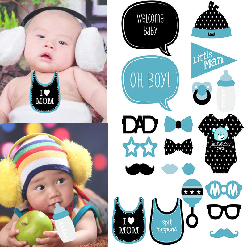 20 Unids Baby Shower Decor Photo Booth Props Chica Niño Bebés Un - Para fiestas y celebraciones