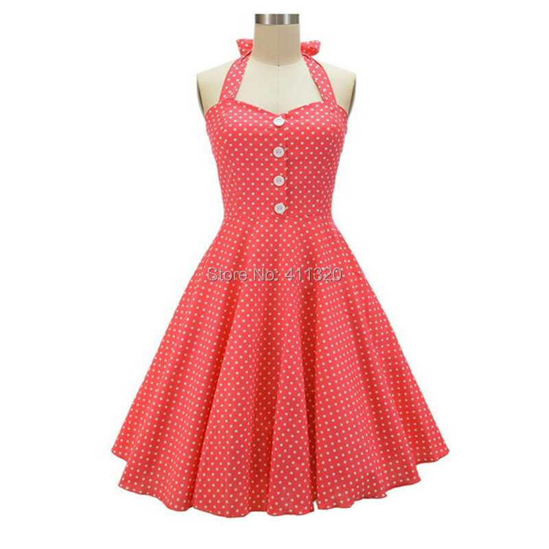 V215 2015 Womens Halter Backless Polka Dots 1940s 50s 60s Vintage Retro Style Rockabilly Pin up Swing Summer Casual Party Dresses (3).jpg