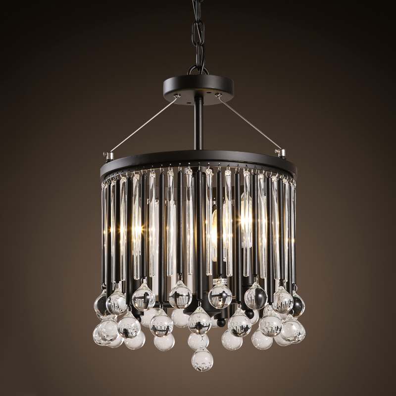 Z Americký styl Retro železný křišťálový lustr Severní Evropa Křišťálové průmyslové světlo do jídelny Obývací pokoj Kavárna