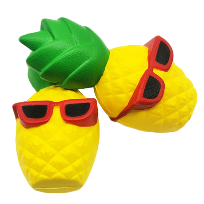 2020 New Kawaii Sunglasses Pineapple Squishy Simulation Bread Slow Rising Creative  Squeeze Toy Stress Relief For Kid Fun Gift