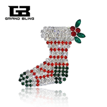 Chritmas Theme Rhinestone Brooch Christmas Stocking Pins Bling Jewelry&Gift for Festival