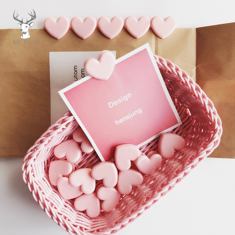 10Pcs/lots Pink Love Heart Angel Wings Planner Paper Clip Plastic Bookmarks Kawaii Cute Stationery Office School Supplies