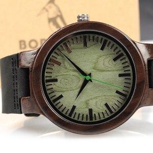 Image 5 - BOBO ptak WC25 heban drewniany zegarek zielony drugi wskaźnik drewna twarzy zegarki dla mężczyzn