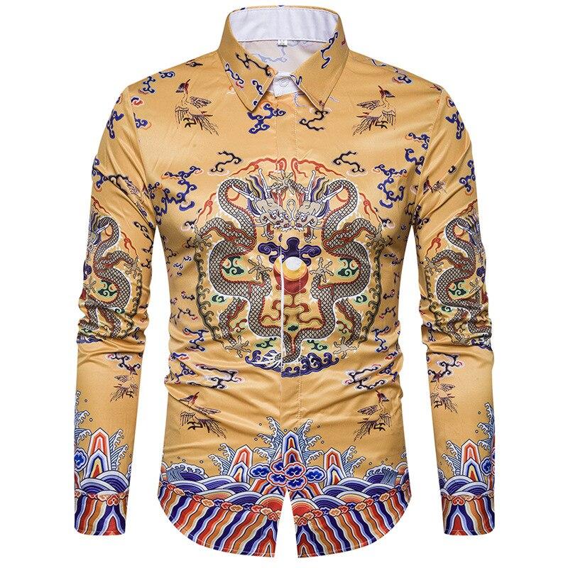 Men Shirts Chemise Homme 2017 Dragon Print Men Shirt Long Sleeve Slim Fit Male Floral Shirt Casual Button Down Mens Dress Shirts