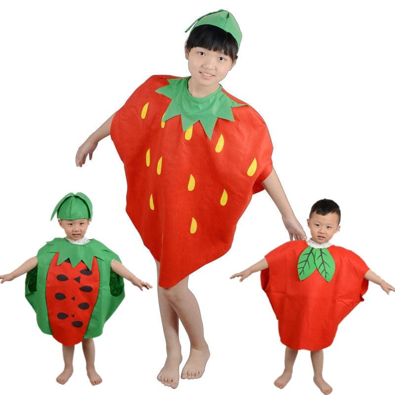 Otroška novoletna družinska zabava risanke sadne noše Cosplay lubenica / jagoda / jabolko Oblačila za dečke dekleta