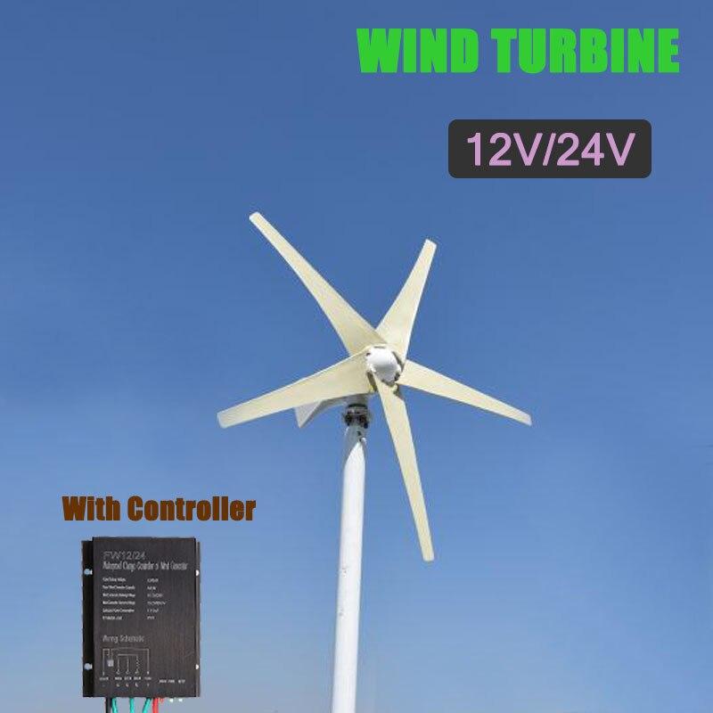 цена на 5 Blades 12V/24V 400W Wind Turbine Generator Auto Adjust Horizontal Wind Generator Home Wind Power Generator With Controller
