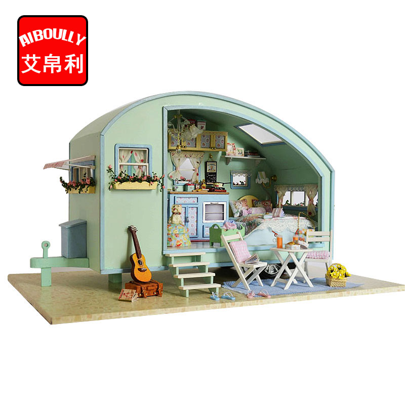 DIY Wooden Miniature Caravan Dollhouse 3D doll house Kit Miniature Furniture Model LED Sound Control Swich