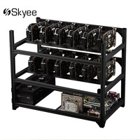 S SKYEE USB Switch Aluminum 12GPU Open Air Mining Rig Frame Case 10 Fans For ETH