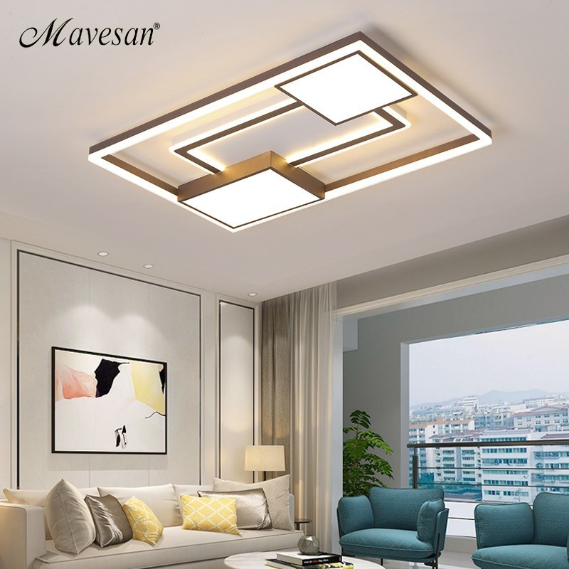 Modern Living Room Ceiling Lights LED Lamp For Bedroom Study Room White coffee color surface mounted round Lamps remote control|Ceiling Lights|   - title=